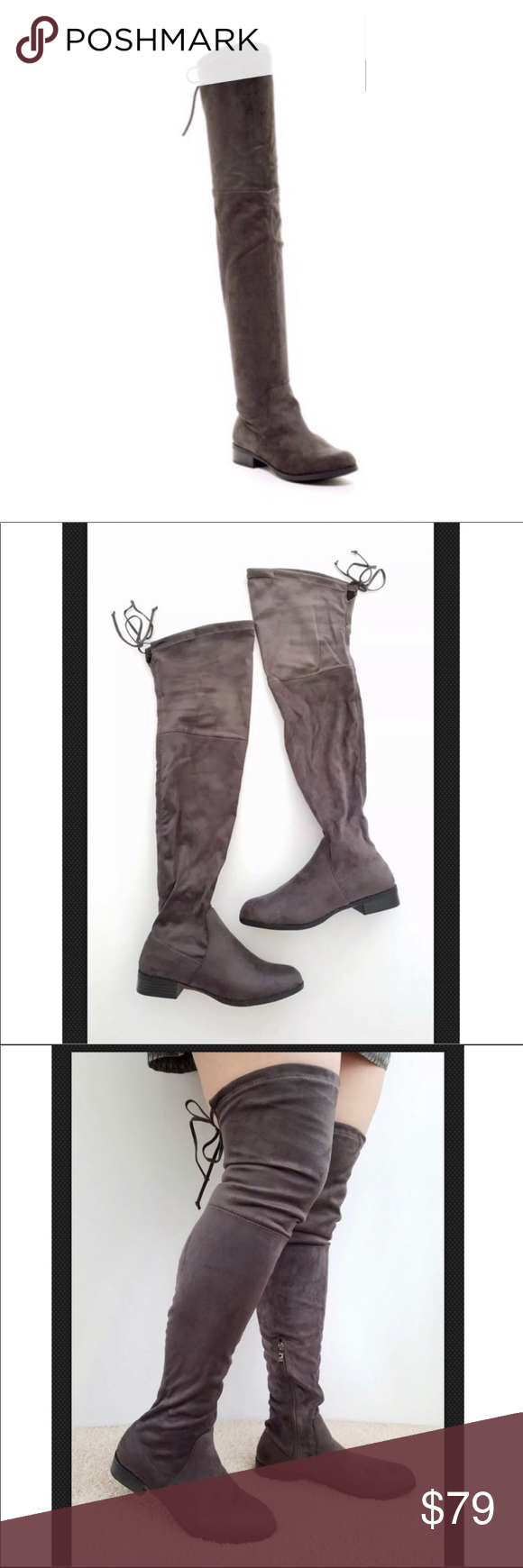 604d1d447 Catherine Malandrino Gray Over The Knee Boots Catherine Malandrino Faux  Suede Over The Knee Boots NEW with box Size 9 Dark Gray color Side zip  closure ...