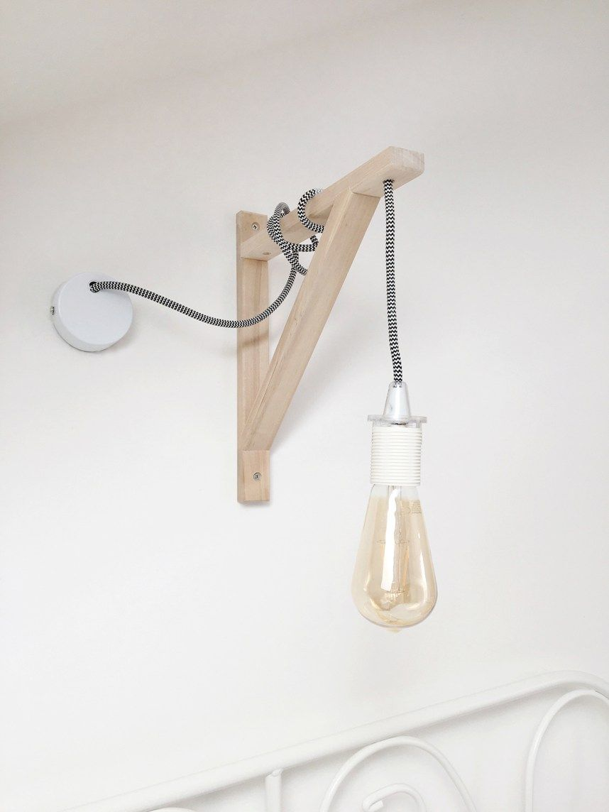 How to create your own DIY wall lamp with a hanging lightbulb using the EKBY VALTER SHELF ...