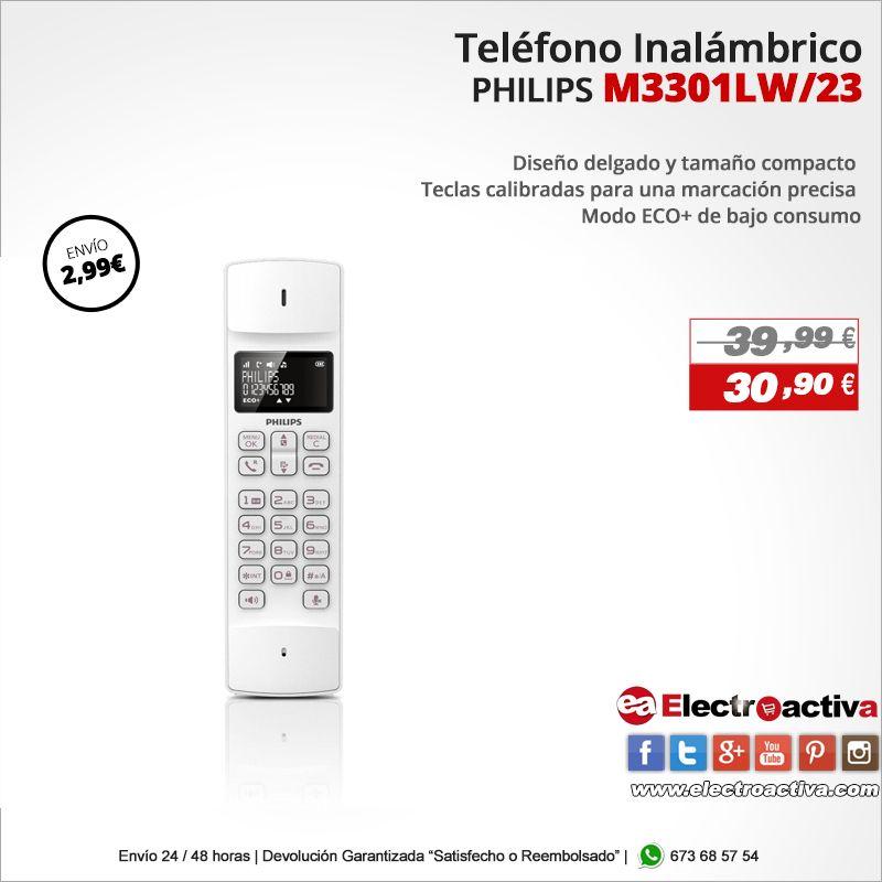 ¡Diseño delgado y compacto! Teléfono inalámbrico PHILIPS M3301LW/23 http://www.electroactiva.com/philips-m3301lw-23-telefono-inalambrico-dect-50m-300m-color-lavanda.html #Elmejorprecio #Telefono #Electronica #PymesUnidas
