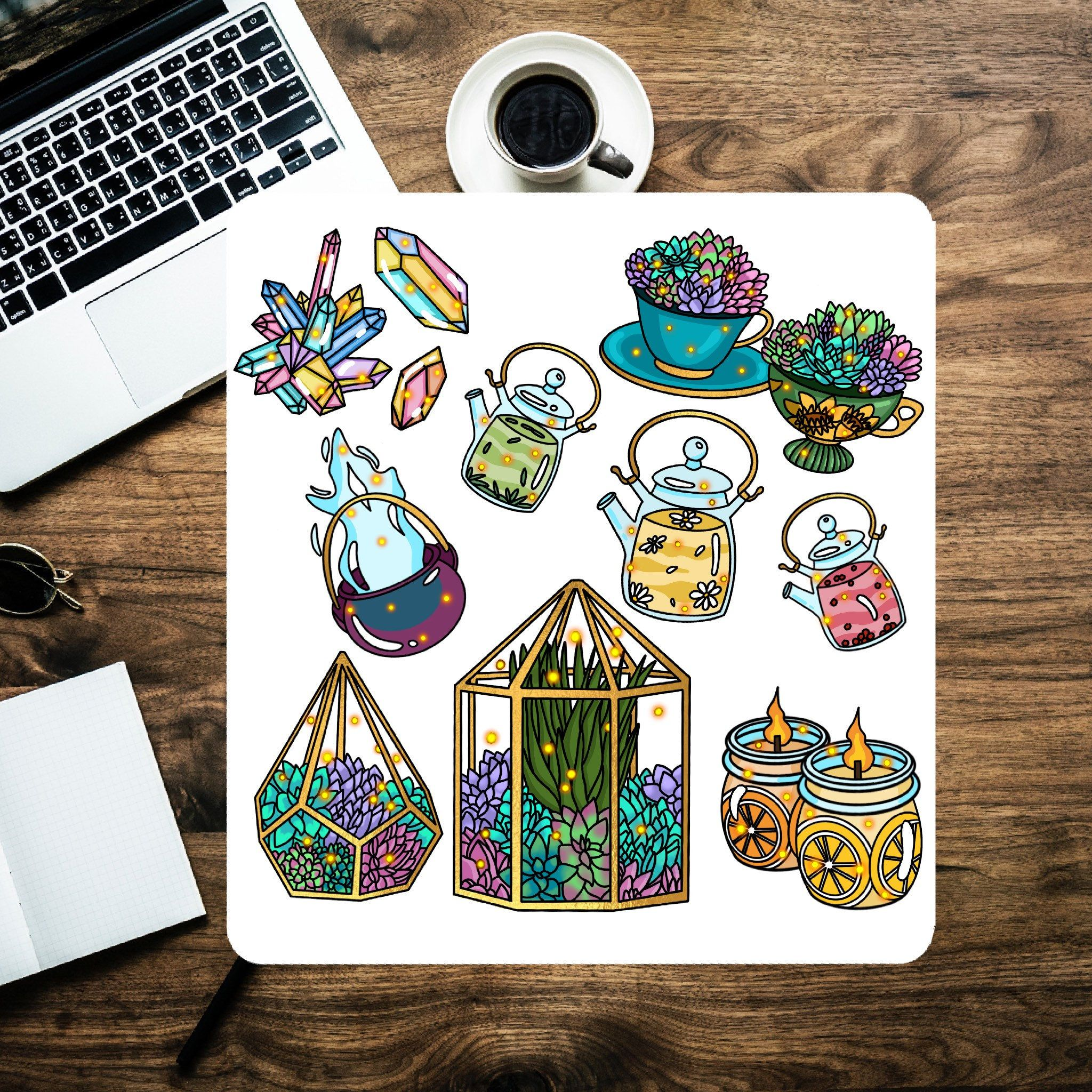 11 Pcs Cozy Witch Decorative Sticker Pack Flakes Aesthetic Vinyl Stickers For Planners And Bullet Journals Feminist Sticker Planner Stickers Crystal Stickers