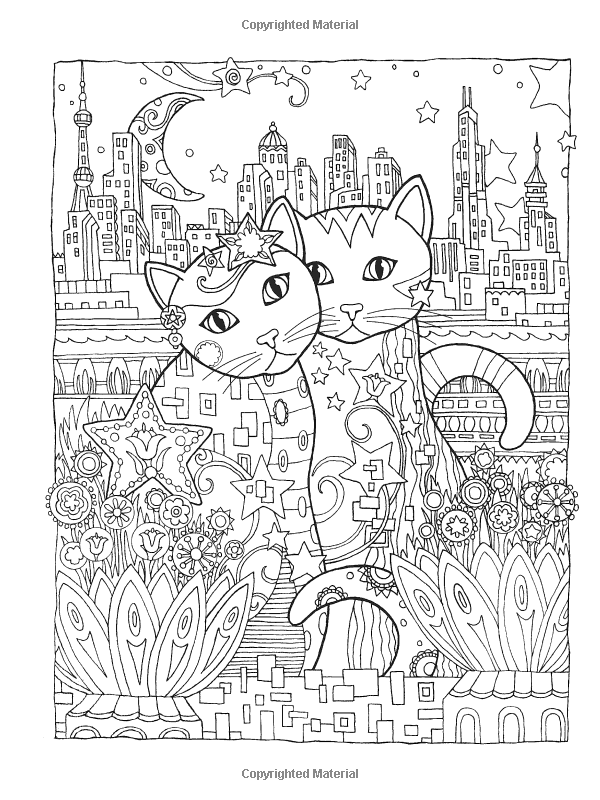 Dover Publications Creative Haven Cats Coloring Book Artwork By Marjorie Sarnat