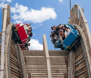 Close Up Of China S New Wooden Roller Coaster Displaying Two