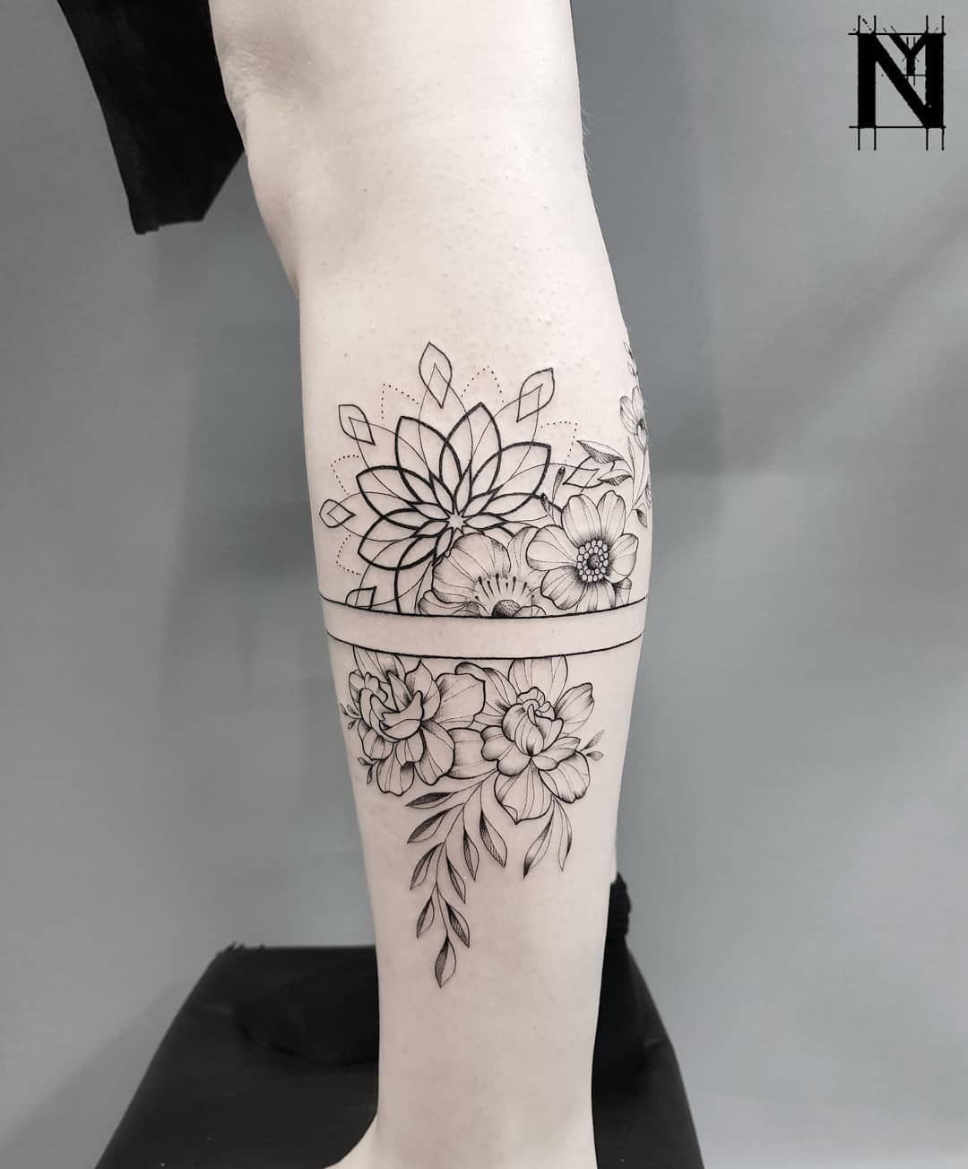 Geometric Flower Tattoo Sleeve: Floral Tattoo, Floral Tattoo Sleeve