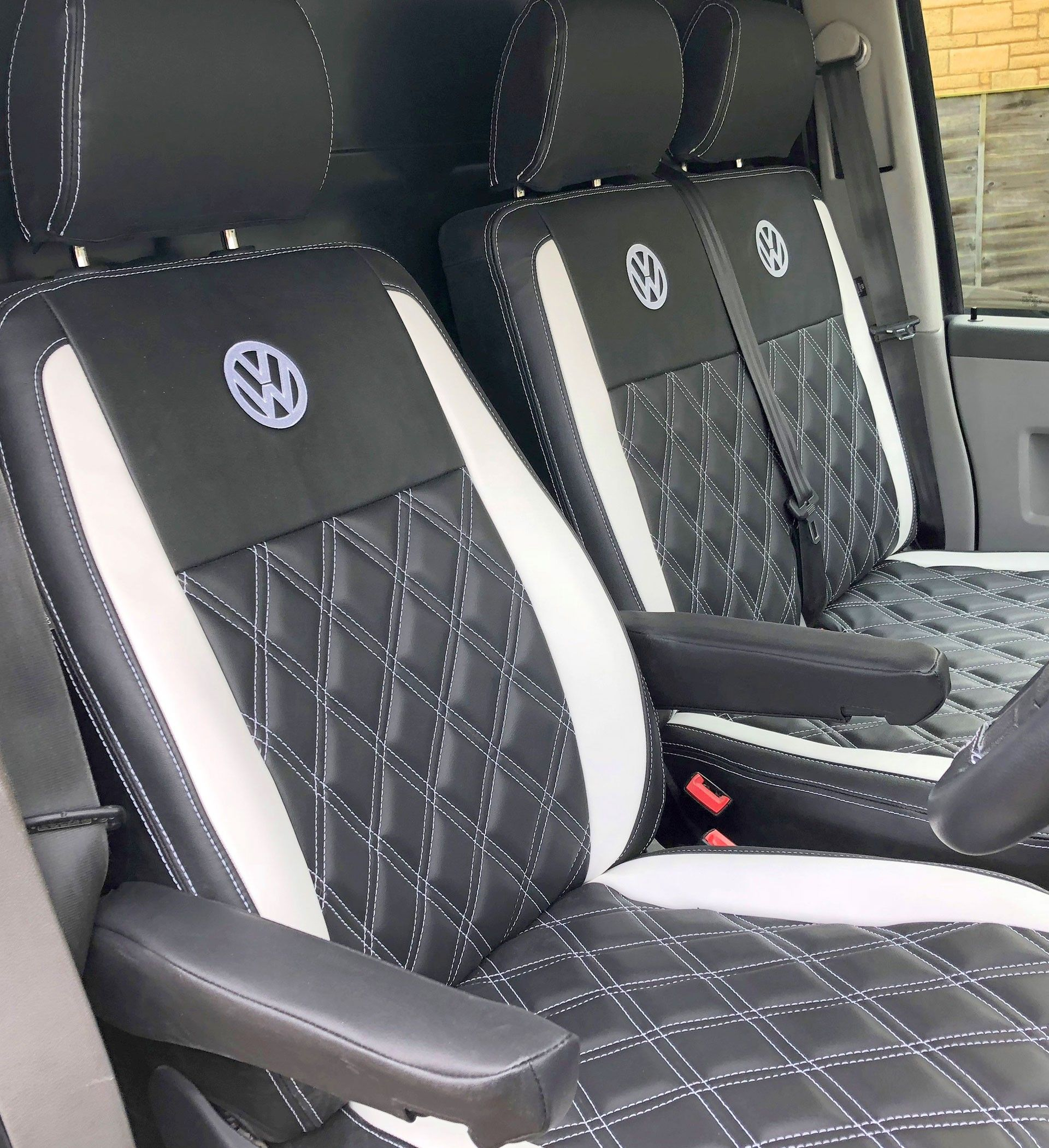 BOXER LUXURY VAN SEAT COVERS BLACK /& GREY 2+1
