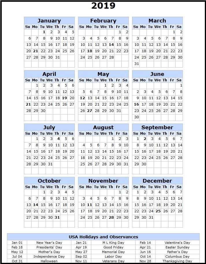 free printable us 2019 calendar with holidays   calendar
