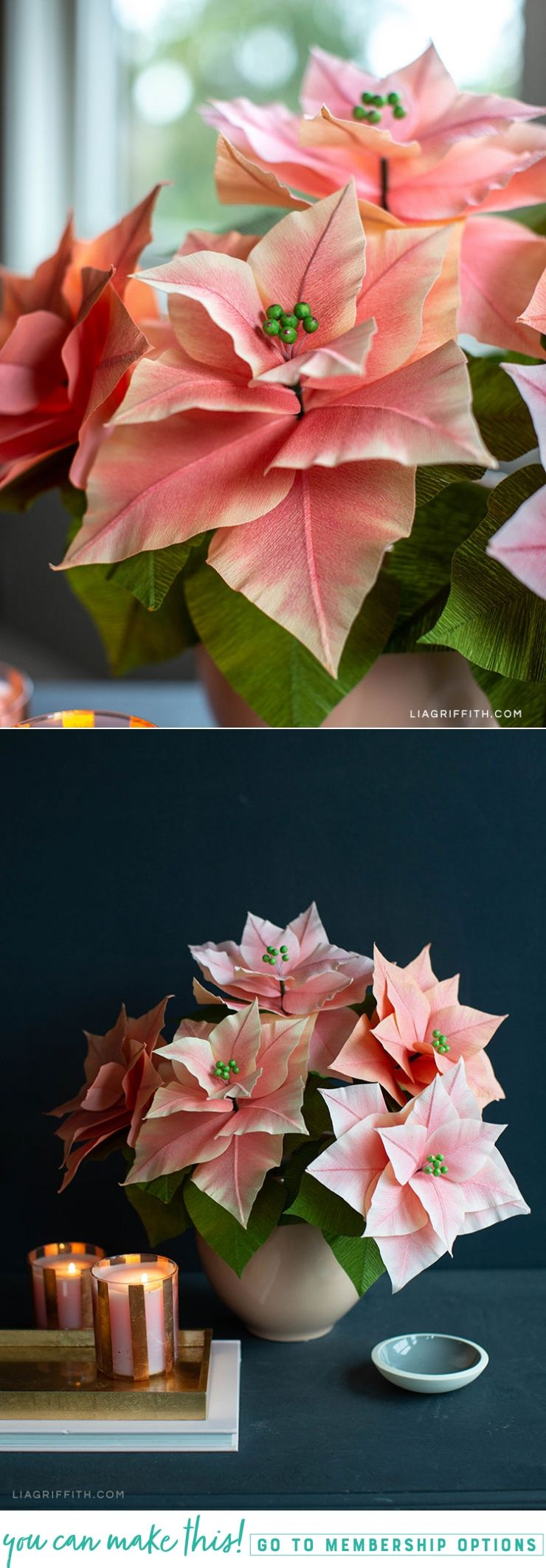 Pink Crepe Paper Poinsettia Plants For The Holidays Lia Griffith Paper Flowers Paper Flowers Diy Large Paper Flowers