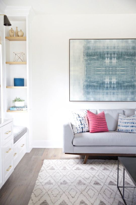 Pretty Living Room In Greys And Blues With Pop Of Pink