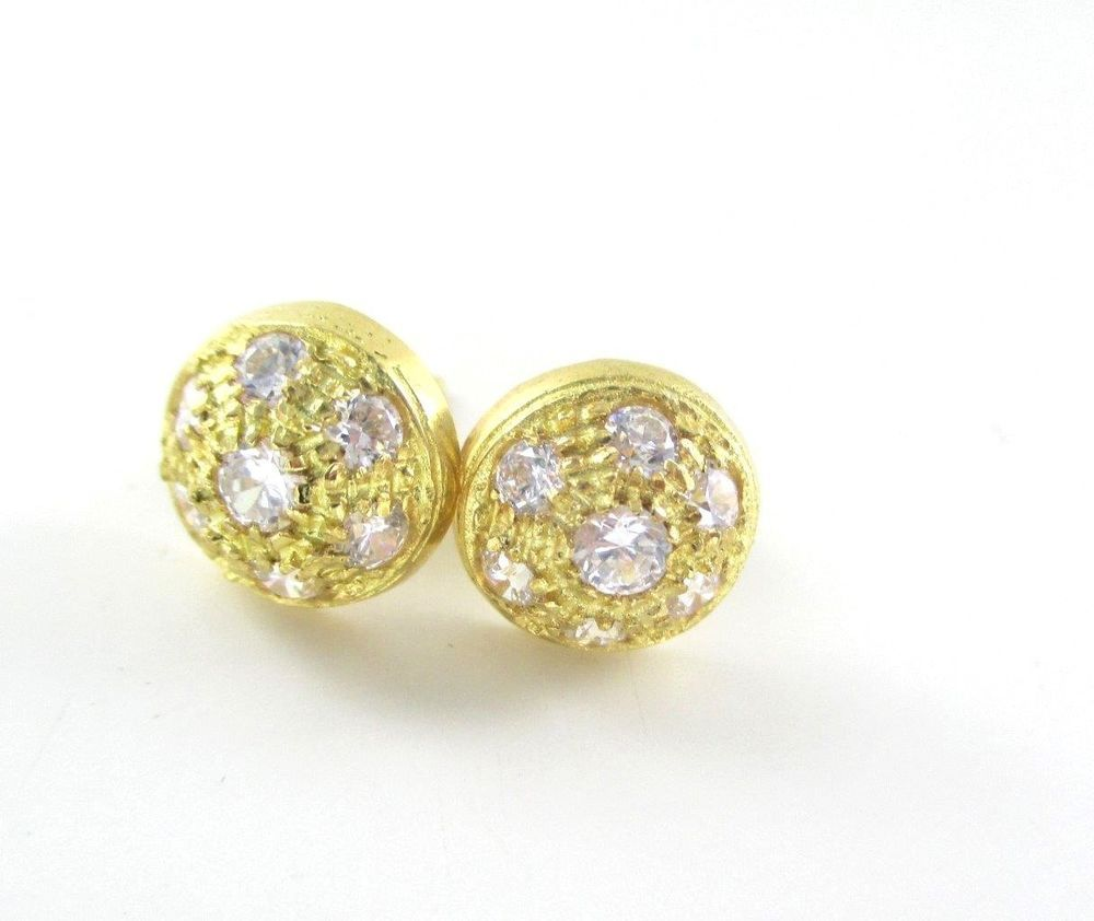 Kt yellow gold earrings fine jewelry white stones stud pave