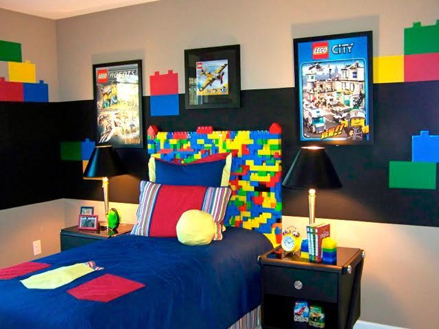 is your son obsessed with legos create a lego mural as a headboard and other great boy room ideas - Boys Room Lego Ideas
