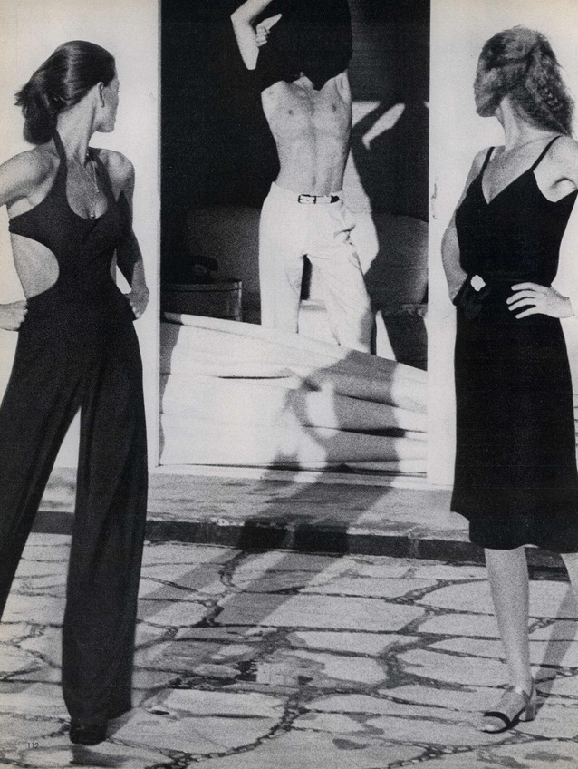 """Photo by Helmut Newton, May 1975, Lisa Taylor, Eva Nielsen, editorial """"The Story of Ohhh…"""", Vogue."""