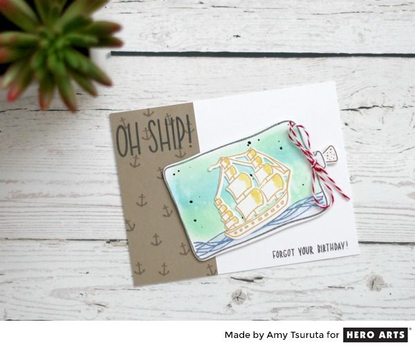 Tsuruta Designs 2017 Hero Arts Summer Catalog Blog Hop Ship card - Sample Cards