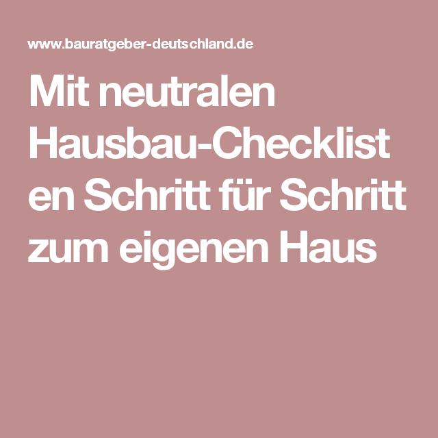 Mit Neutralen Hausbau-Checklisten Schritt Für Schritt Zum