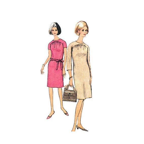 60s pattern Womens Shift Dress Pattern Simplicity 6485 Front Gather Dress Raglan Sleeve | Womens Sewing Pattern Bust 34 Vintage 60s Pattern