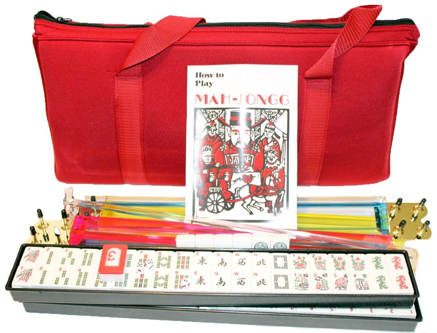Amazon.com: 4 Pushers + Brand New Complete American Mahjong Set in Burgundy Bag , 166 Tiles(mah Jong Mah Jongg Mahjongg): Toys & Games