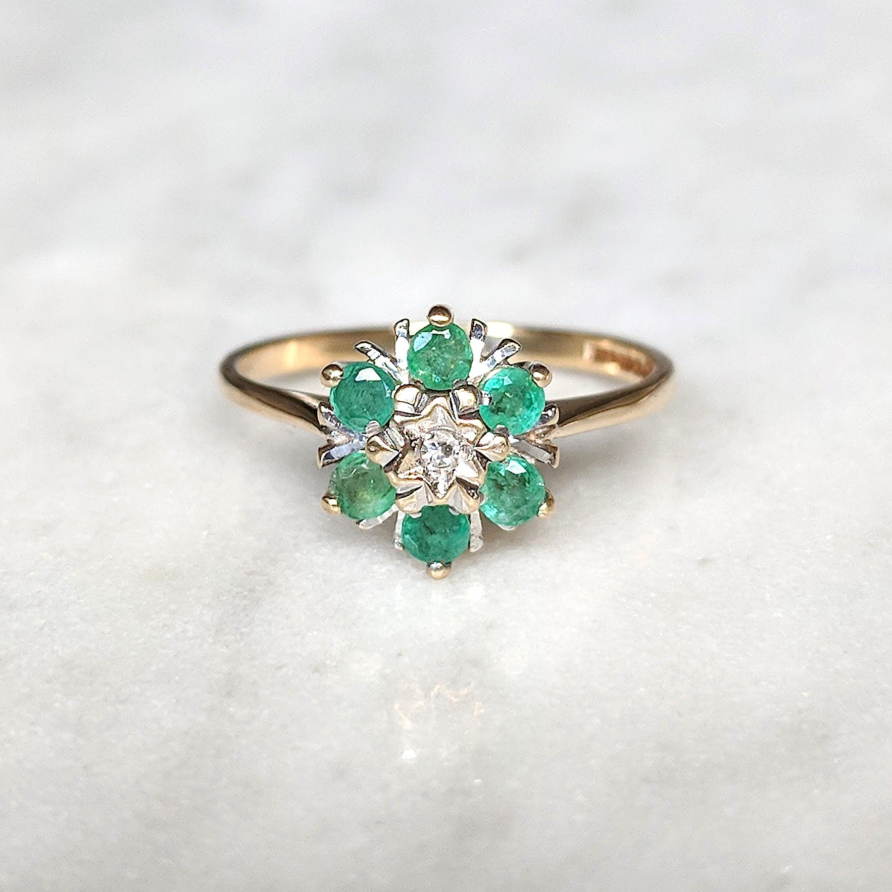 Emerald And Diamond Flower Cluster Ring In 9ct Gold Indira Antique Rings Vintage Antique Engagement Rings Cluster Ring