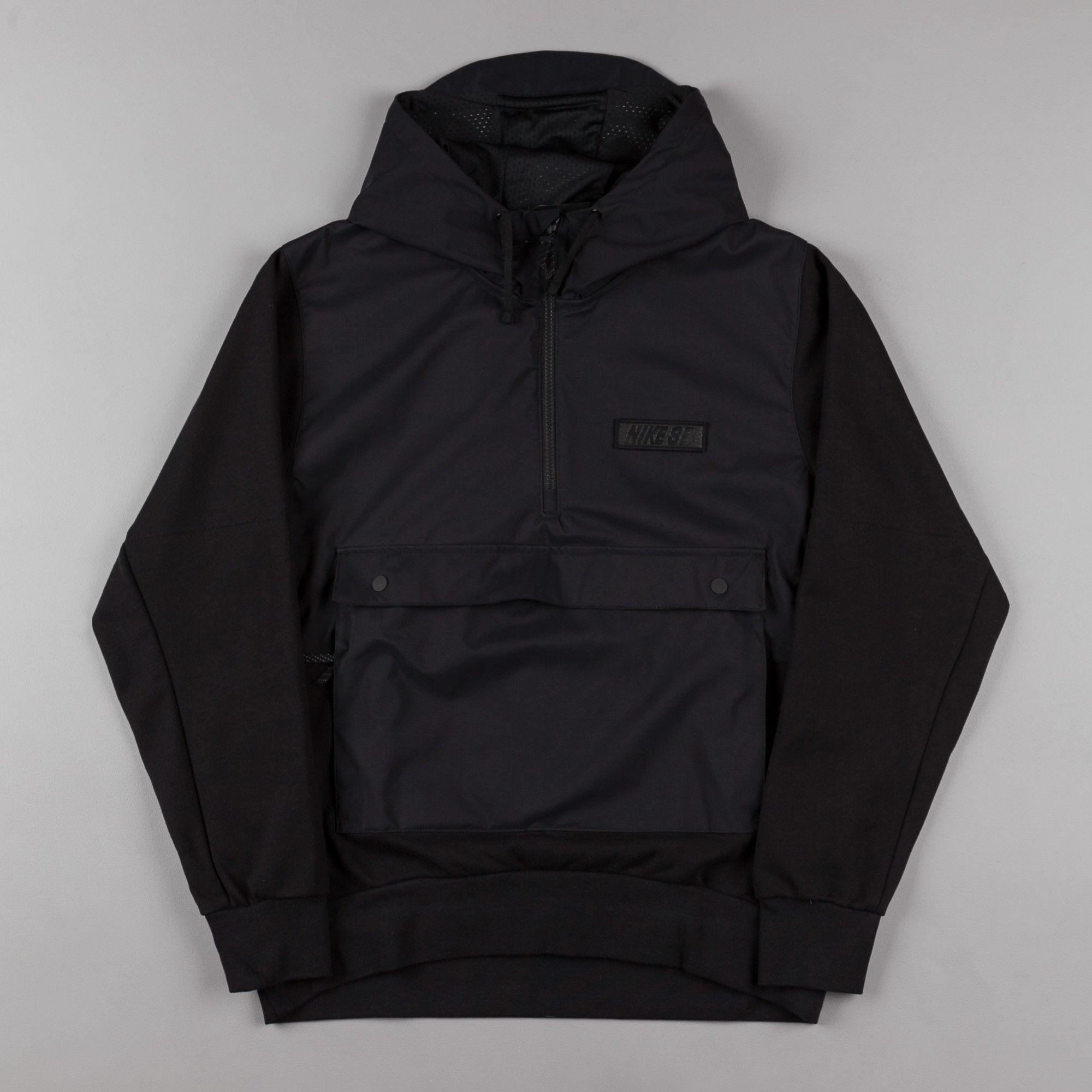Nike Sb Everett Hoodie Jacket Black Black Black Hoodie Jacket Jackets Hoodies [ 2000 x 2000 Pixel ]