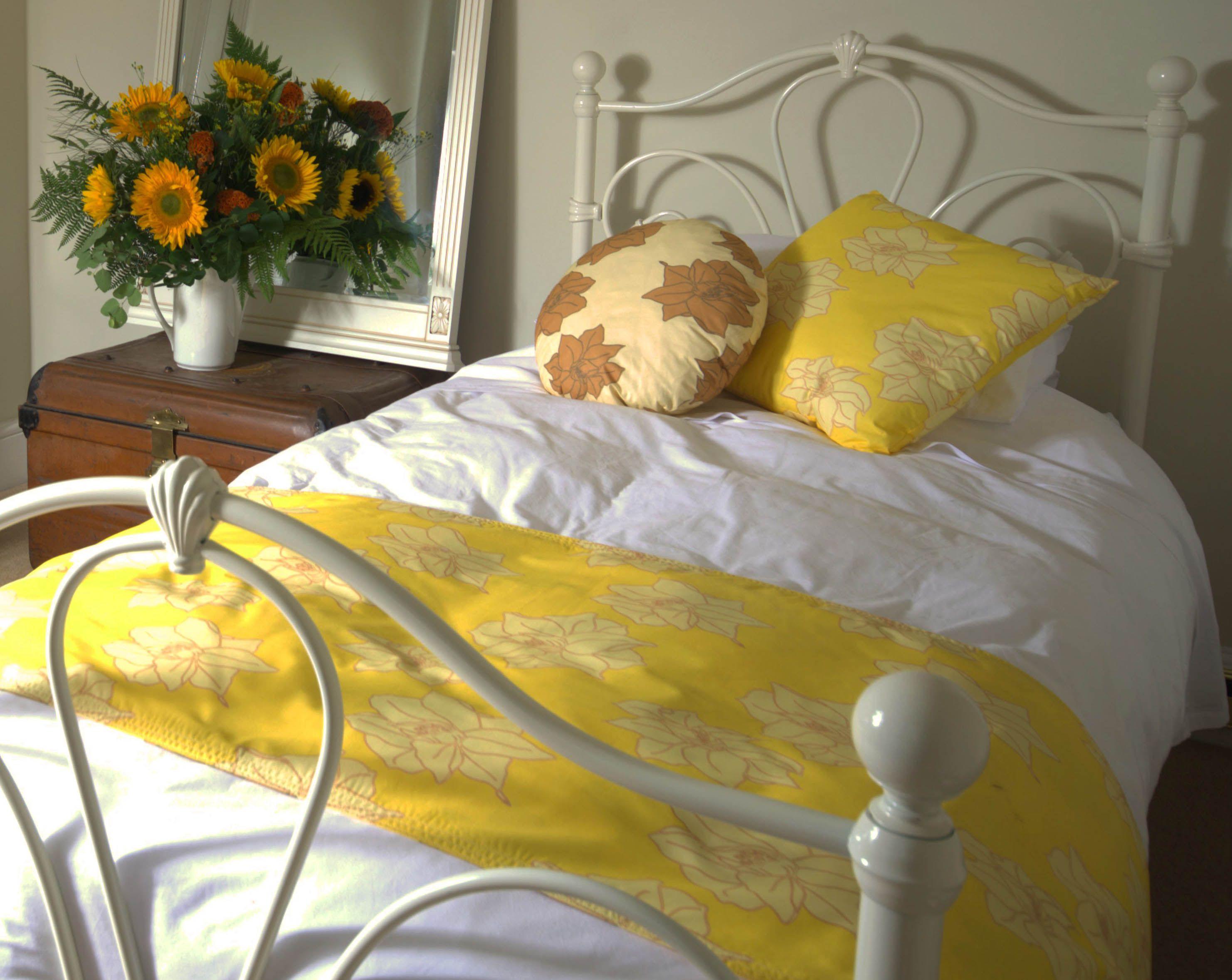 larkspur fabric in bedroom set up
