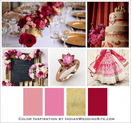 The stunning and traditional Indian bridal color is red, especially in a ruby red hue. A very romantic wedding color palette of ruby red, rose and blush with a touch of gold is one of our favorites. This is the perfect transitional color between summer and fall weddings. Roses are always abundant and easy to get, so no stress about flowers. Let's not forget, gold is always a great choice for splendid décor. #colorpalettecopies