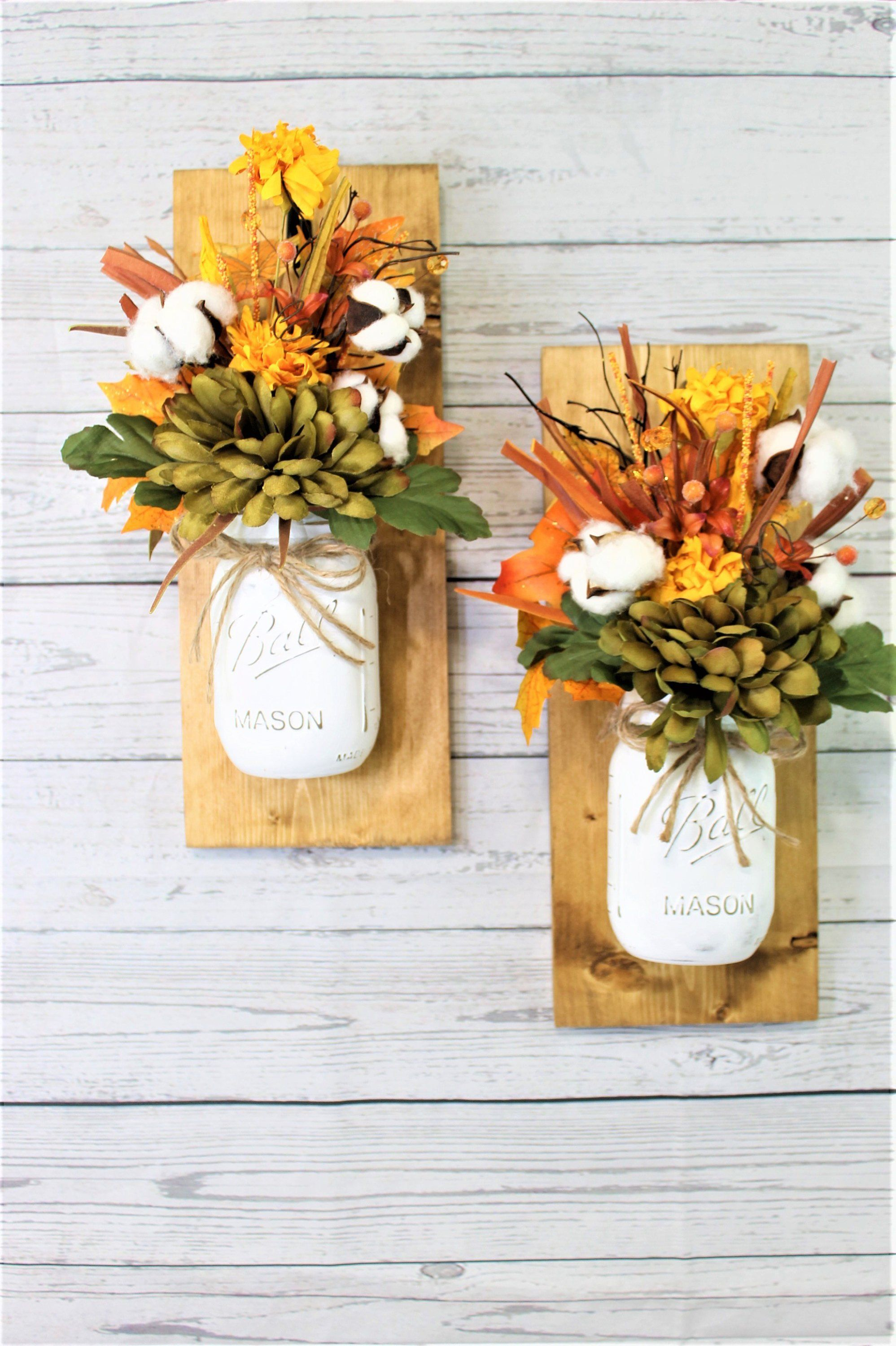 Set of 2 Fall Cotton Bolles Mason Jar Wall Sconces Floral ... on Decorative Wall Sconces For Flowers Arrangements id=85017