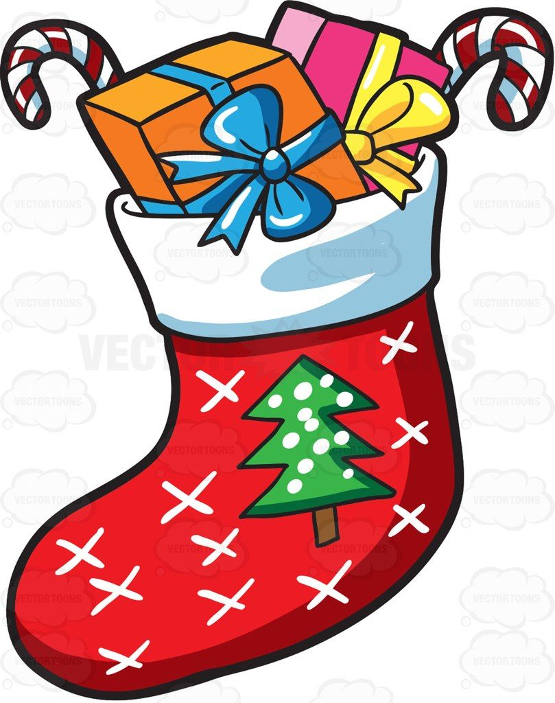 Christmas Stockings Cartoon.A Christmas Sock With Presents Cartoon Clipart Vector