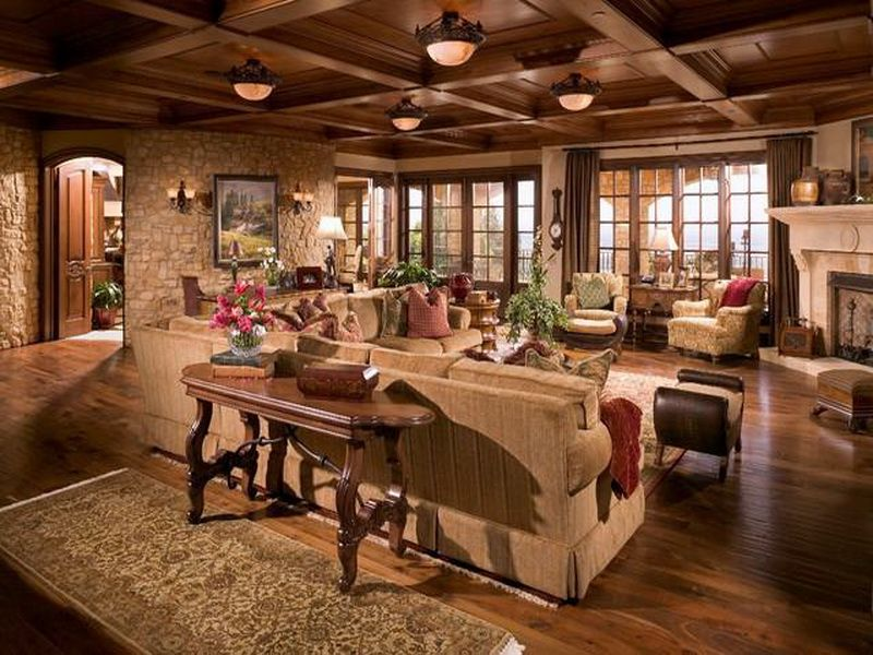 Tuscan Farn House Livingroom Farmhouse Plans Spacious