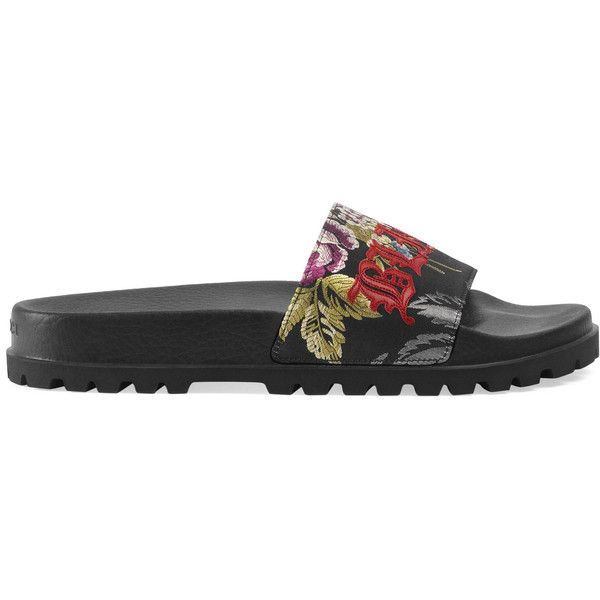 f05809b948e9 Gucci Floral Jacquard Slide Sandal ( 595) ❤ liked on Polyvore featuring  men s fashion