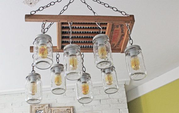 Washboard Mason Jar Chandelier One Of A Kind Chandelier Handmade In Nashville Tn From A Vintage Washboard And 8 Ball Quart Size Wide Mou Mason Jar Chandelier Hanging Mason Jar