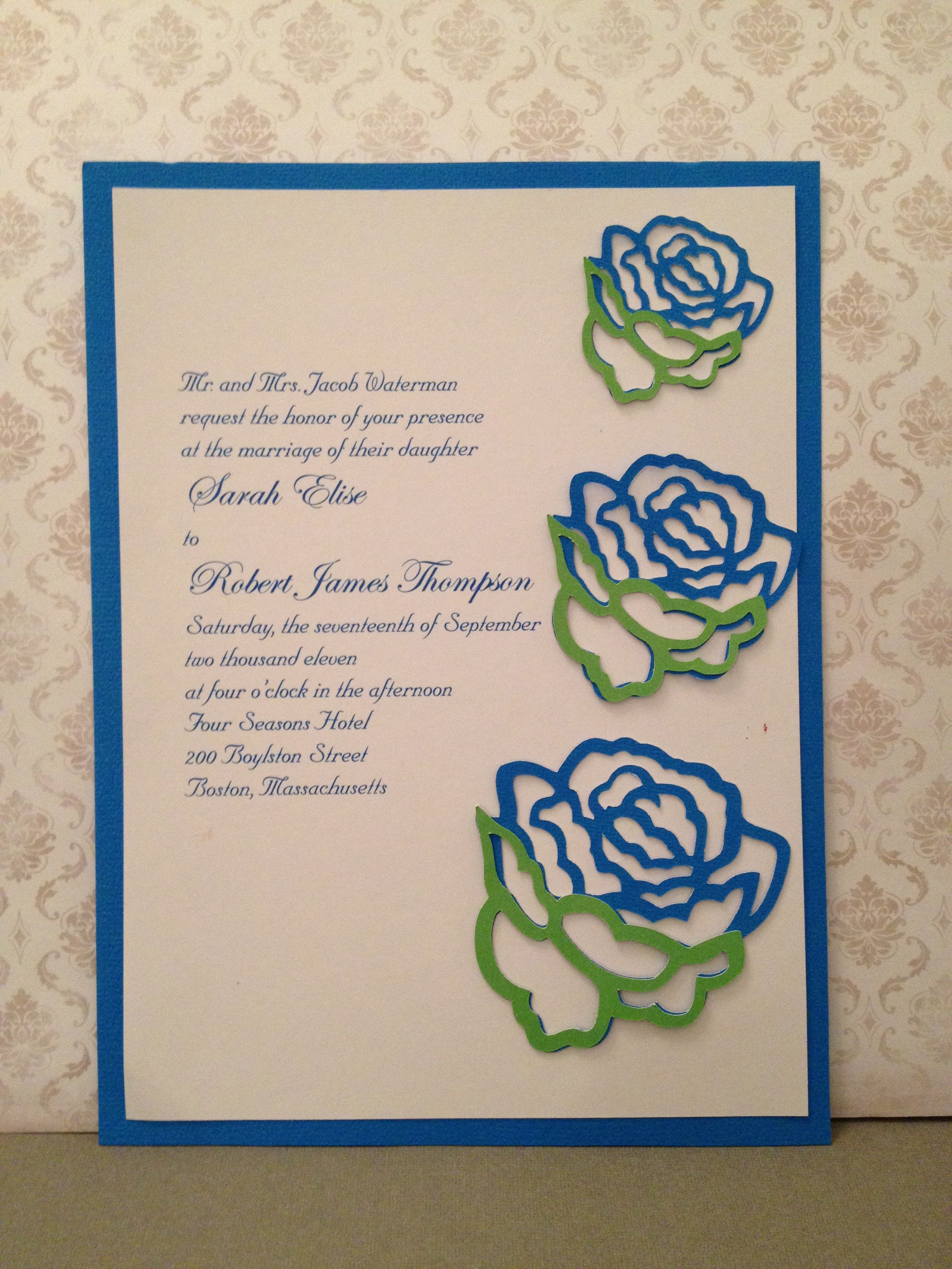 Rose Wedding invitation is 6x8 and made from cardstock. I