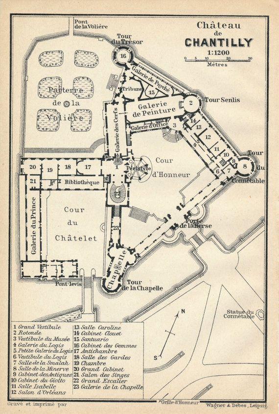 1910 Antique Map of Chateau de Chantilly, near Paris France   Map, How to plan, Floor plans