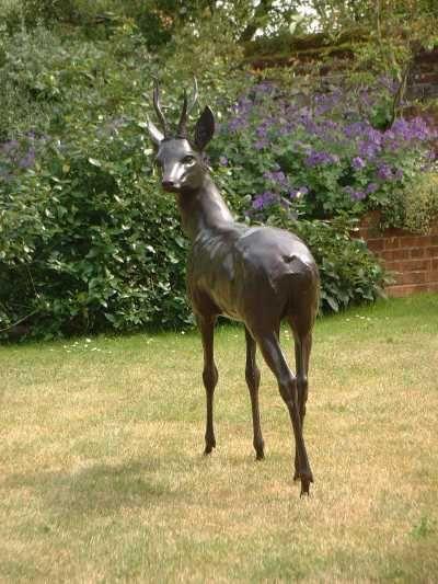 Good By Gill Parker Titled: U0027Roe Buck (Bronze Life Size Male Deer Garden/Yard  Sculpture/statue)u0027.
