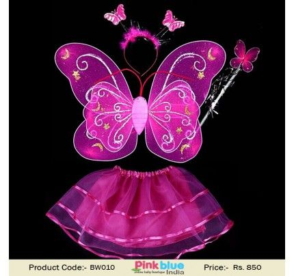 acf9f2d2c 4 Piece Butterfly Wings, Magic Wand and Fairy Costume Set for Baby Girls