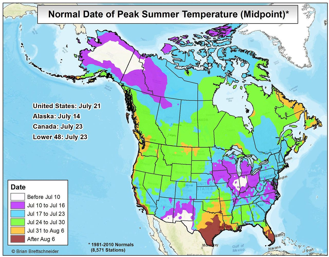Normal Date Of Peak Summer Temperatures In U S Canada Summer Temperature Map History
