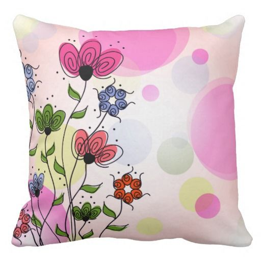 Bright And Pretty Abstract Spring Flowers Pillow Floral Pillows