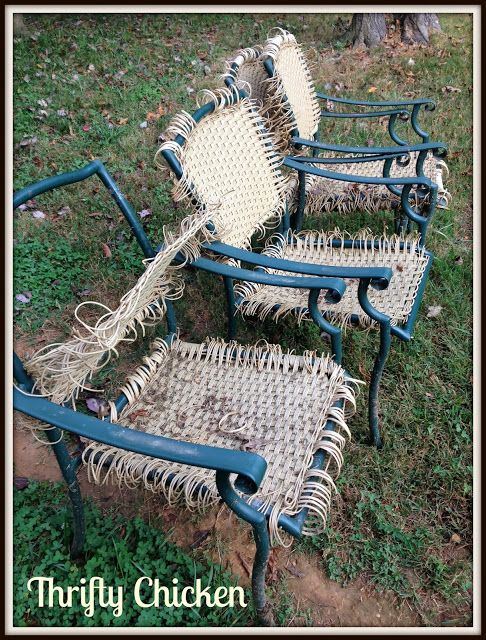 updating the ole patio chairs they replaced. Black Bedroom Furniture Sets. Home Design Ideas