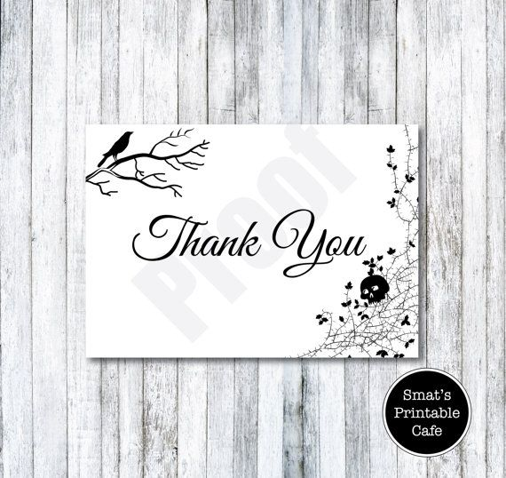 Halloween Wedding Thank You Cards Template DIY Printable - Gothic - microsoft word thank you card template