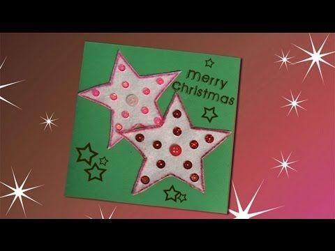Idea de una postal de Navidad con estrellas manualidades IDEAS