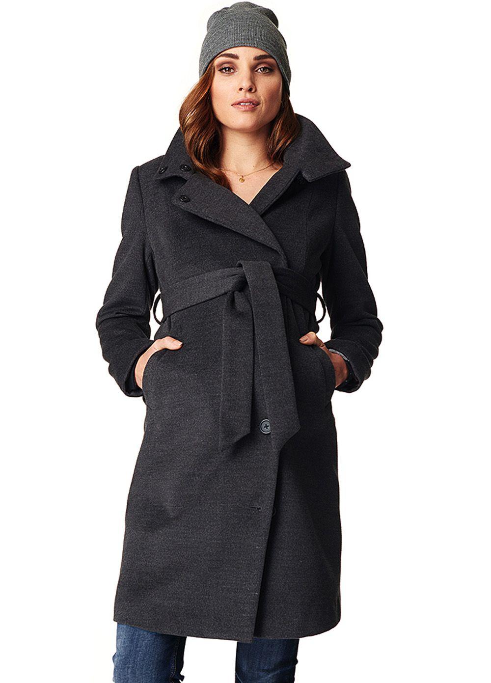 Noppies Black Melange Ilena Coat Maternity winter coat