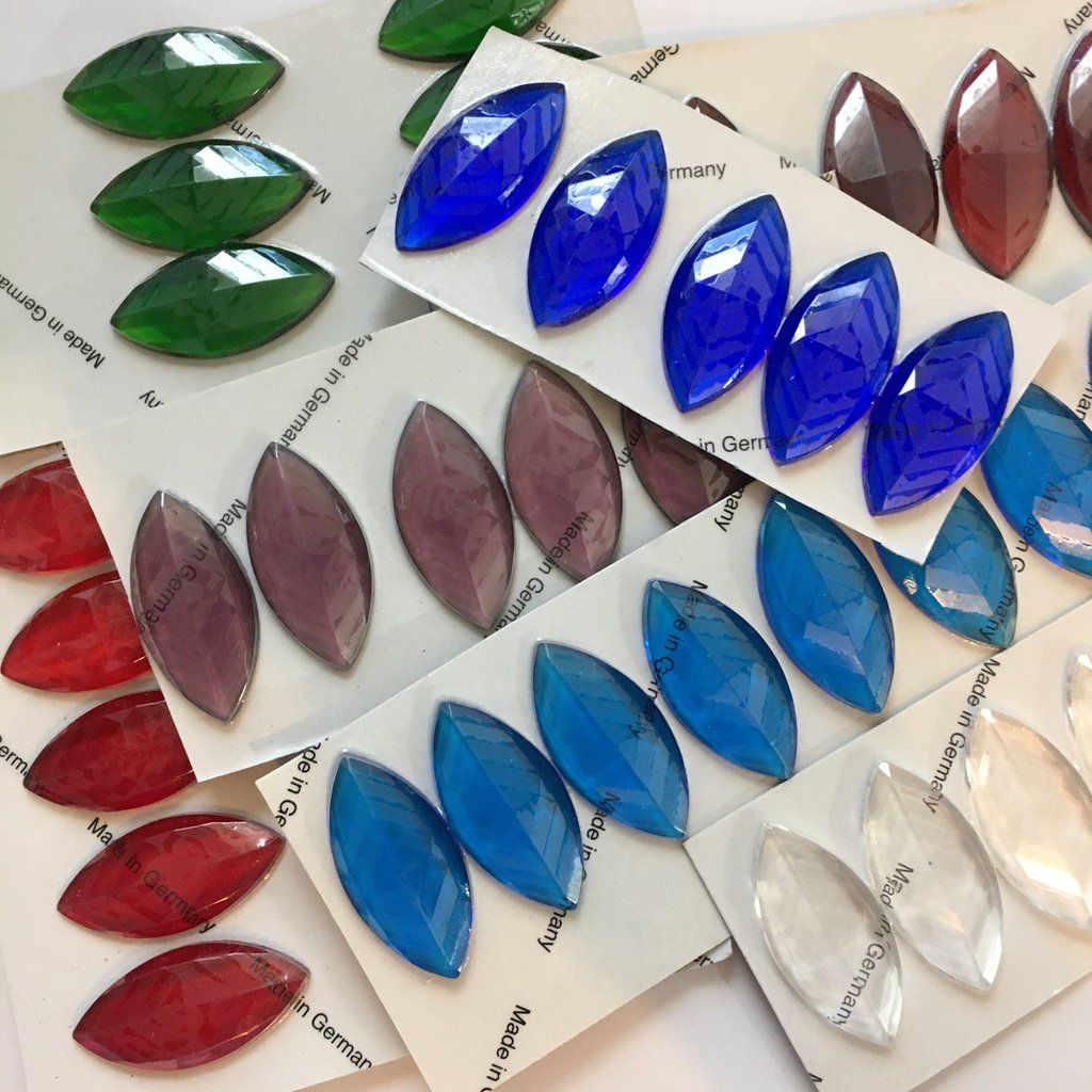 Large 40mm Cut Rose Glass Jewels for Stained Glass Six 6 colors available!