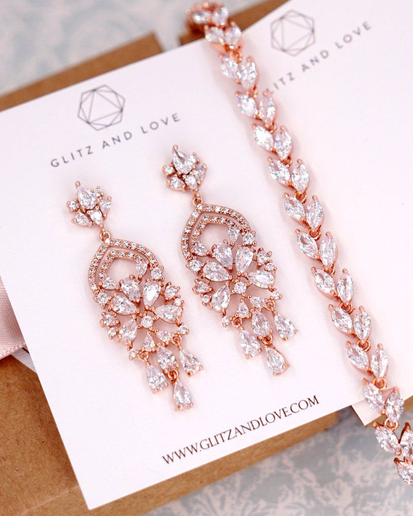 Rose Gold Cubic Zirconia Chandelier Earrings Brides Bridal