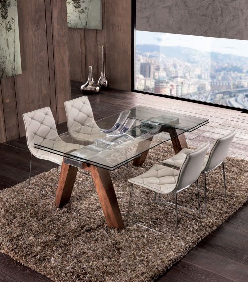 table de salle manger rectangulaire contemporaine avec rallonge vienne avec plateau en verre. Black Bedroom Furniture Sets. Home Design Ideas
