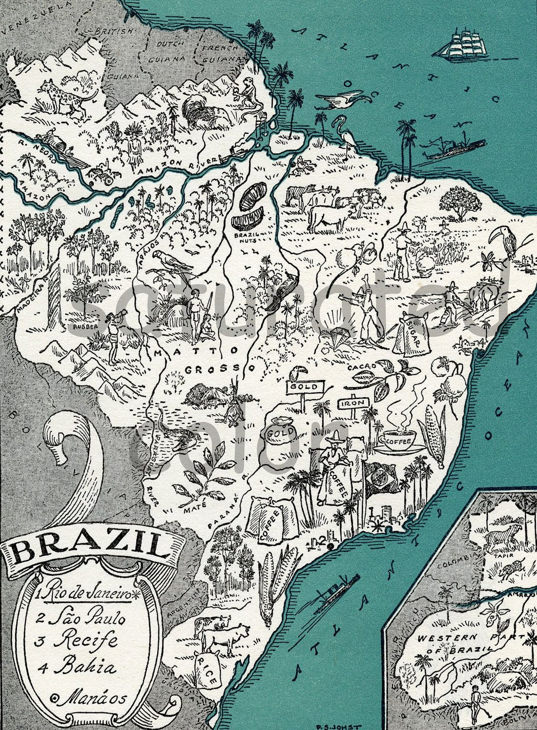 Brazil Map High Res Digital Image Of A 1930s Vintage Picture Map