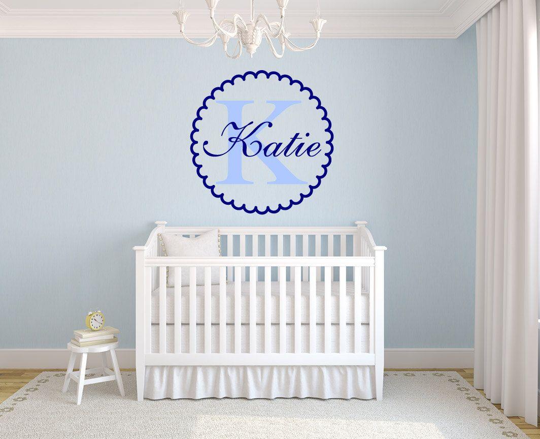Scalloped Monogram Name Girls Room Vinyl Wall Decal Graphics 20″x20″ Bedroom Nursery Decor Baby room