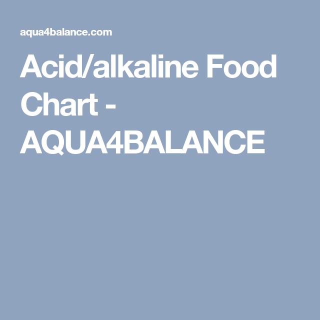 acid alkaline food chart aqua4balance