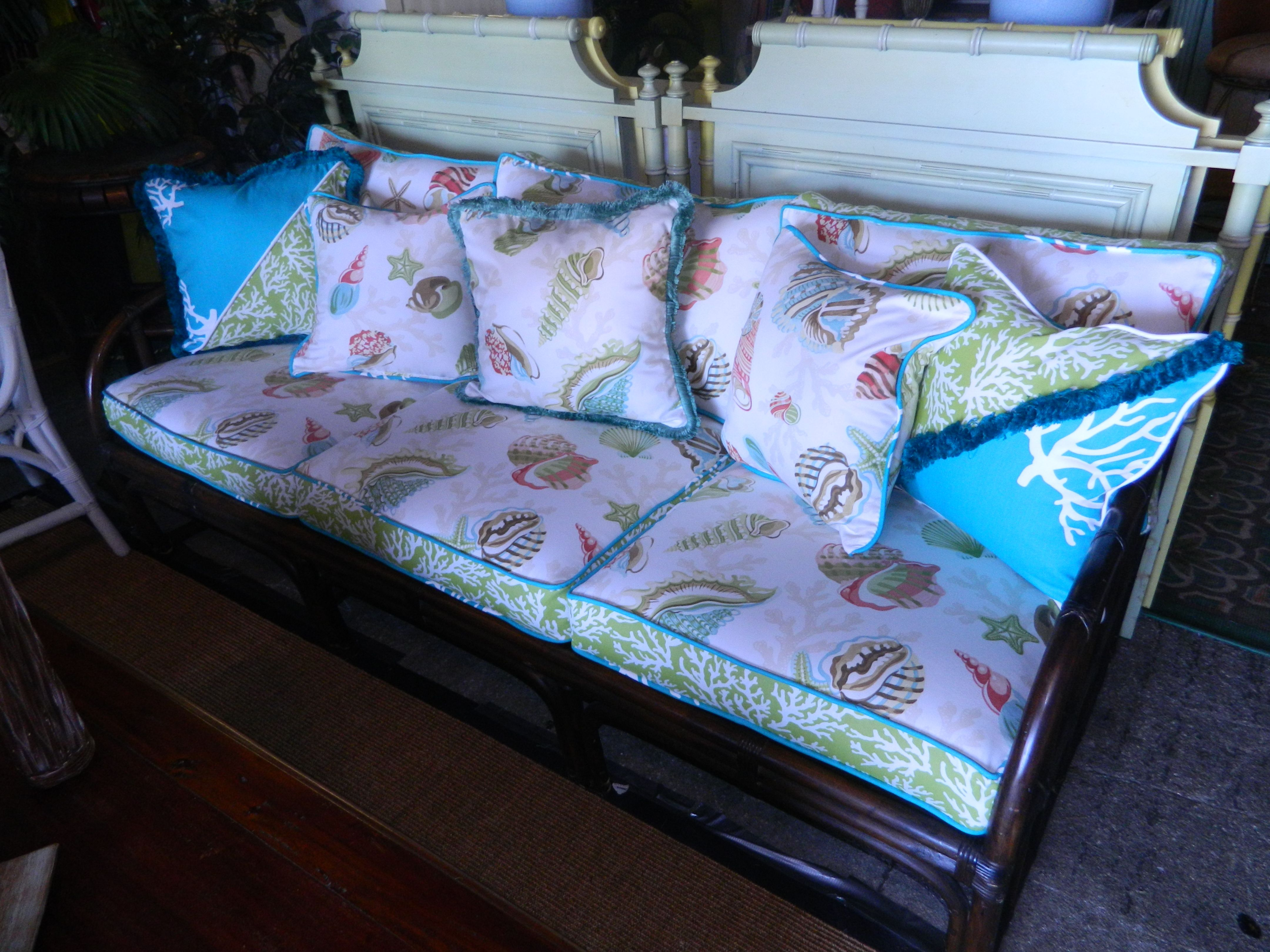 Just Finished Recovering this Ficks Reed Bamboo sofa Coastal Living