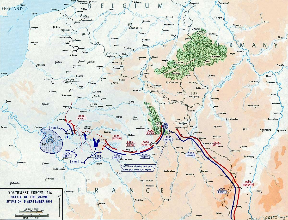 Map of the First Battle of the Marne September 6 12 1914