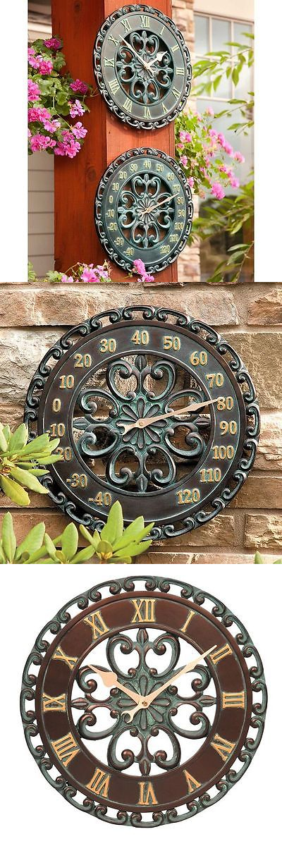 Outdoor Thermometers 75601: 14 Copper Verdigris Outdoor Clock And Thermometer  Set Yard Patio Wall Garden