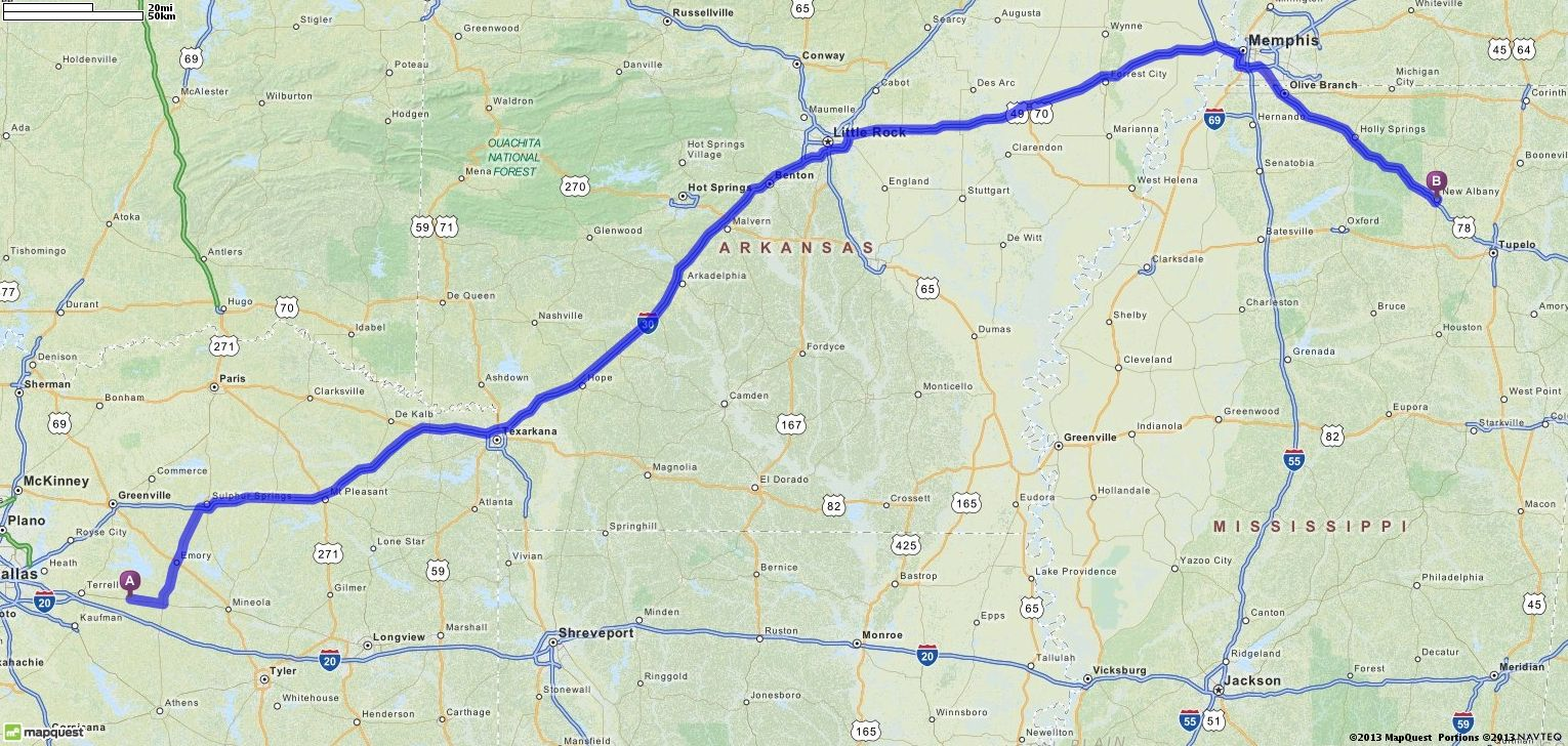 mapquest driving directions start to end