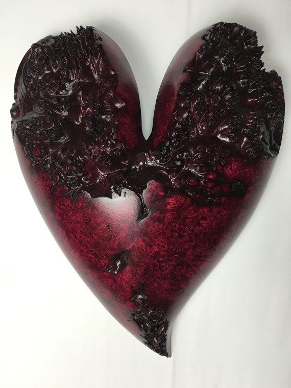 Red maple burl wooden heart personalized by treewizwoodcarvings
