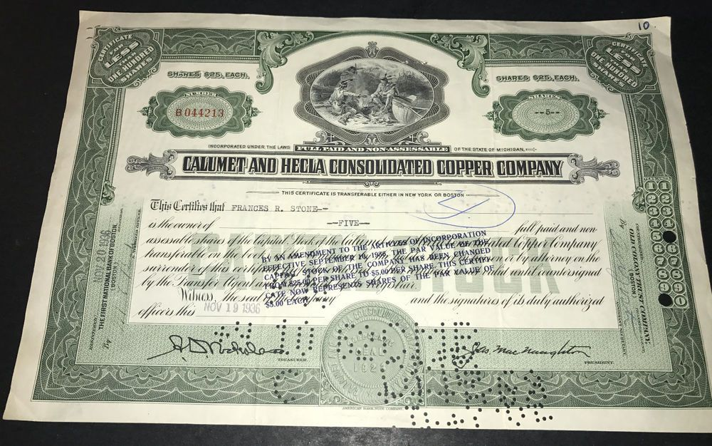 Calumet and hecla consolidated copper company stock