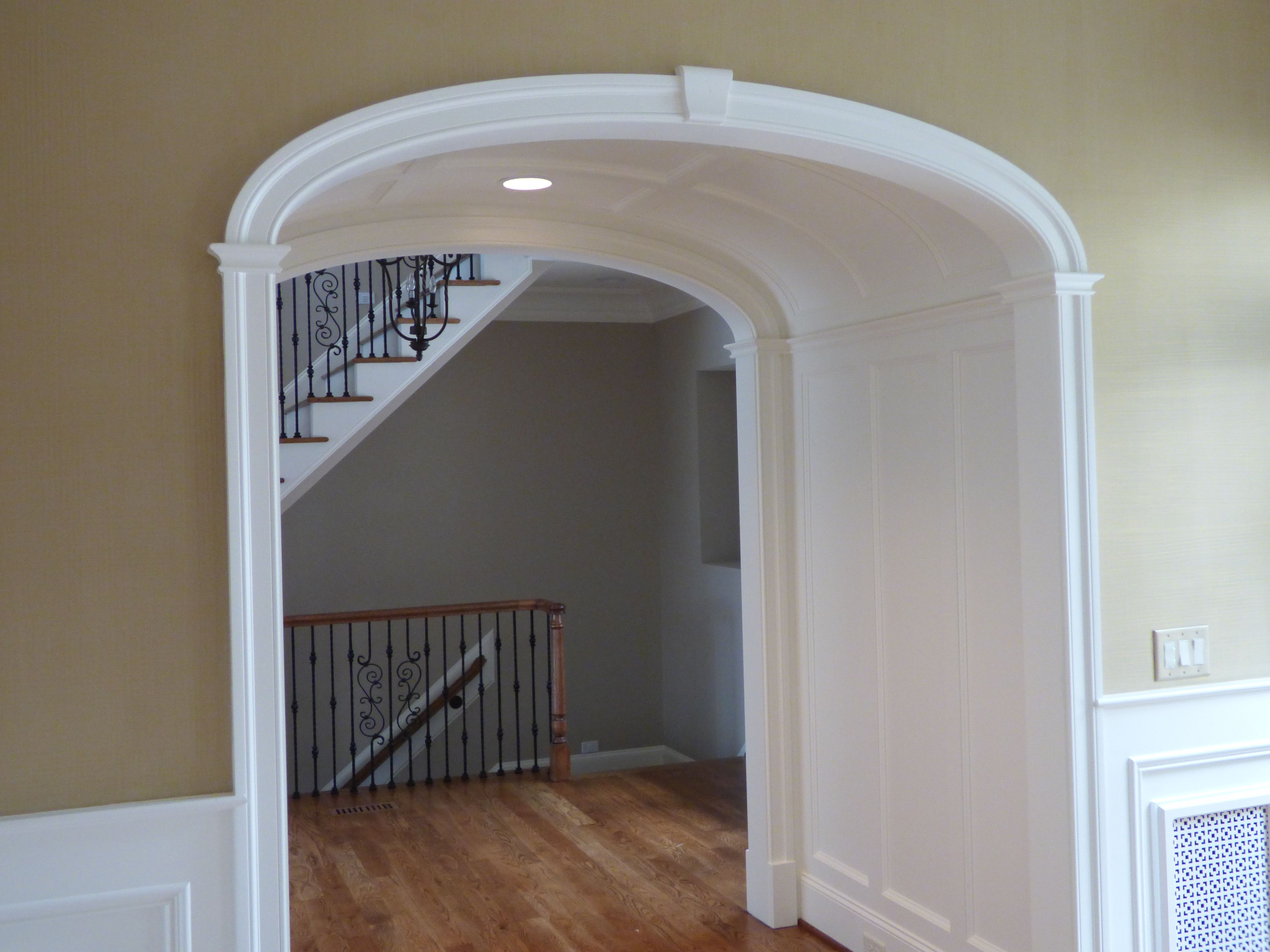 Barrel Ceiling In Entry Way Capped On Each End By Arched Doorways Arch Entryway Interior Wall Design Family Room Layout